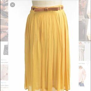 Comme Toi Anthropologie High Waist Mustard Skirt